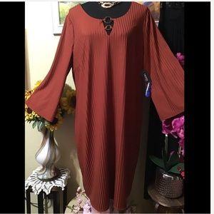 NWT Tacera 2X BurntDeepOrange Vertical Lines Dress